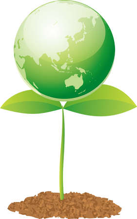 Image illustration of new shoots supporting the earth