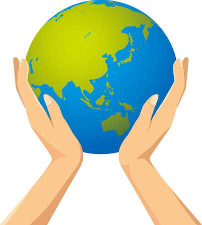 Image illustration of hand and sky having earth