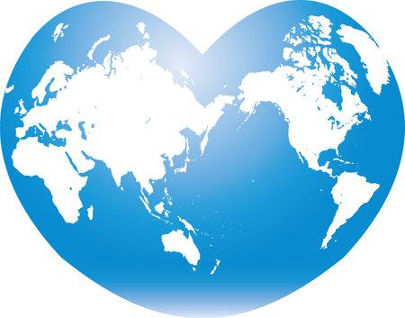 Heart-shaped earth image illustration  イラスト・ベクター素材