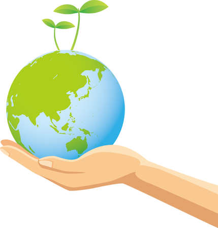 Image illustration of a hand with an earth with new buds