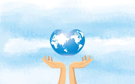 Image illustration of hand and sky with heart-shaped earth