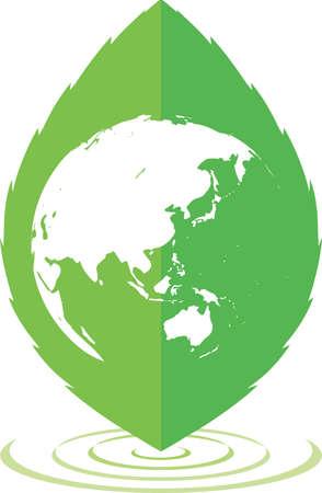 Eco image illustration (leaves, earth, ripples)