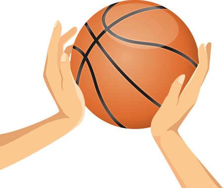 Basketball and hand image illustration  イラスト・ベクター素材