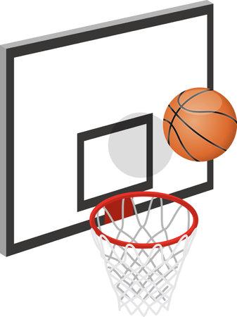 Basketball and goal image illustration  イラスト・ベクター素材