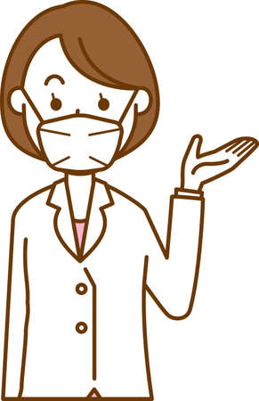 Image illustration of a female doctor wearing a mask (guide)  イラスト・ベクター素材