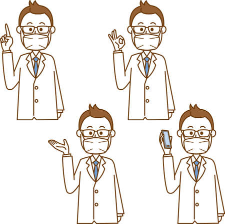 Image illustration of doctor wearing mask (pose set)  イラスト・ベクター素材