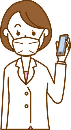 Image illustration of a female doctor wearing a mask (smartphone)  イラスト・ベクター素材