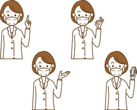 Image illustration of a female doctor wearing a mask (pose set)  イラスト・ベクター素材