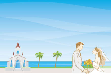Image illustration of wedding (chapel and bride and groom) (blue sea and blue sky)
