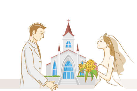 Image illustration of wedding (chapel and bride and groom)  イラスト・ベクター素材