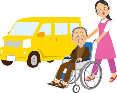 Image illustration of a woman pushing a wheelchair and a car (nursing care)