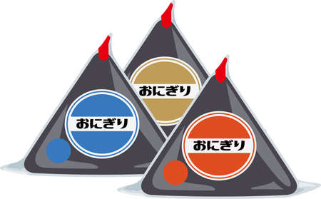 Image illustration of onigiri sold at convenience store (3 pieces)