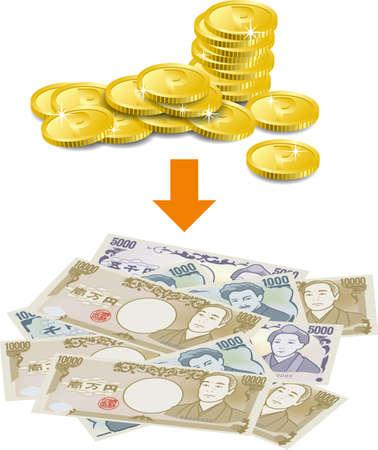 Image illustration exchanging points for cash (vertical position)