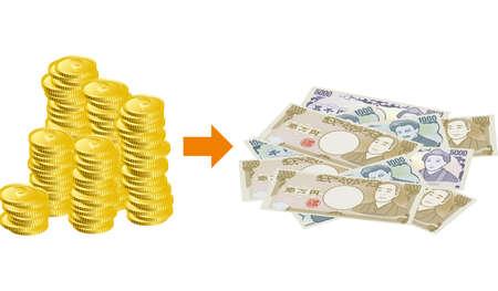 Image illustration of exchanging points for cash (landscape)
