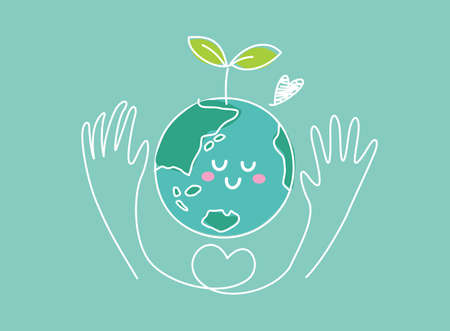 Image illustration of environmental conservation (earth and hands with new buds)