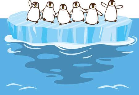 Image illustration of penguins swarming on a glacier