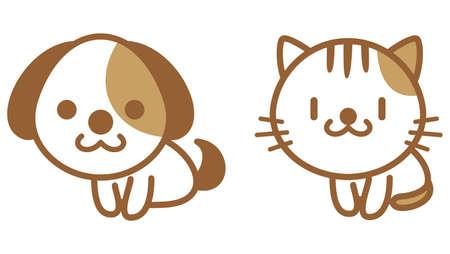 Dog and Cat Illustration Icon Set  イラスト・ベクター素材