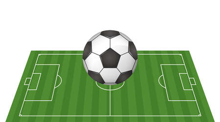 Soccer ball and soccer field image illustration. Vector image
