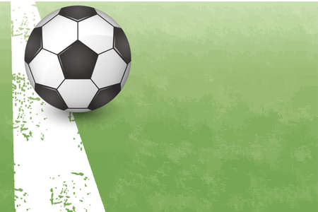Image illustration of soccer ball placed in the field (vector)
