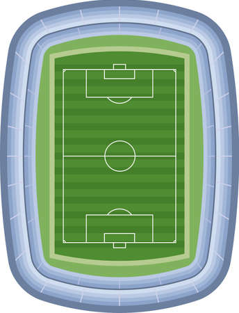 Image illustration of soccer stadium. Vector (bird's eye view)  イラスト・ベクター素材