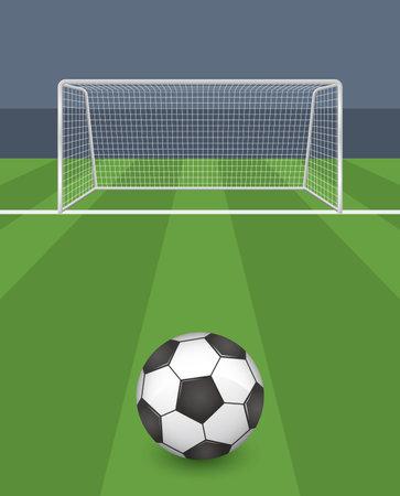 Soccer ball and goalpost image illustration (vector)