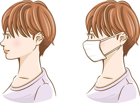 Image illustration of young woman's landscape face (nonwoven mask wear, un worn set)  イラスト・ベクター素材