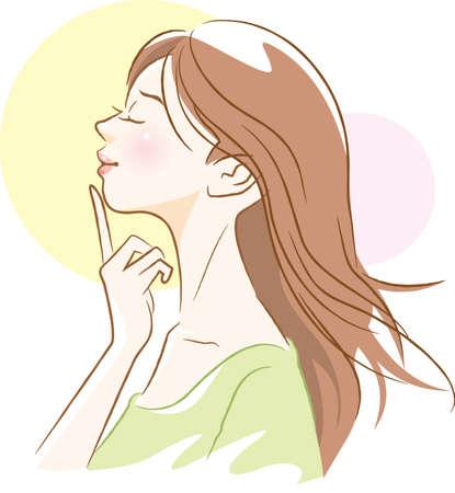 Refreshing female landscape image illustration  イラスト・ベクター素材