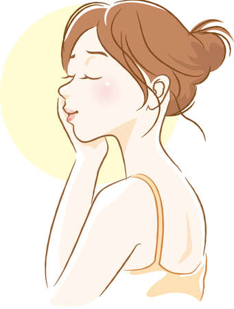 Illustration of a woman's side face touching her cheeks  イラスト・ベクター素材