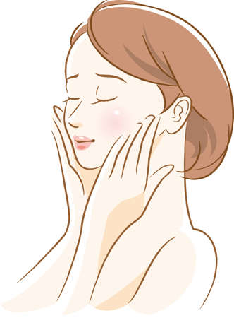 Image illustration of a woman doing facial skin care  イラスト・ベクター素材