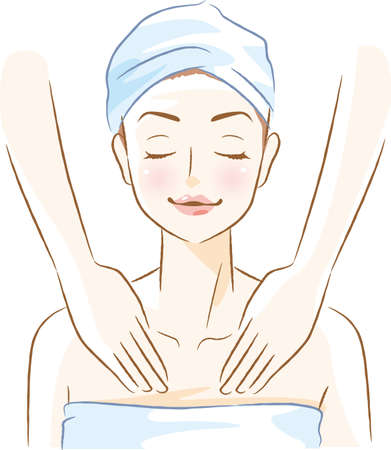 Image illustration of a woman receiving an esthetics (chest)