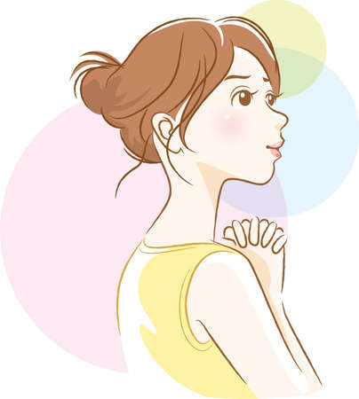 Illustration of a woman's side face doing a wish