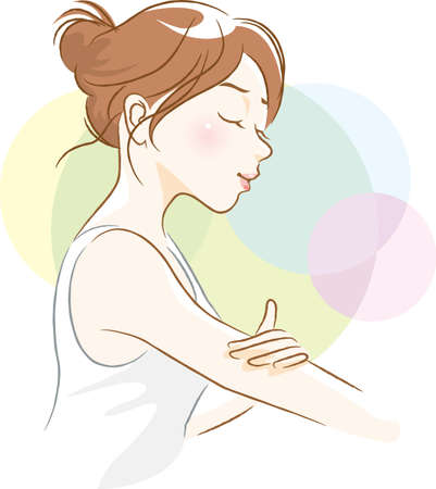 Image illustration of a woman doing arm skin care