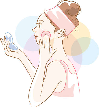 Image illustration of a woman's side face applying foundation