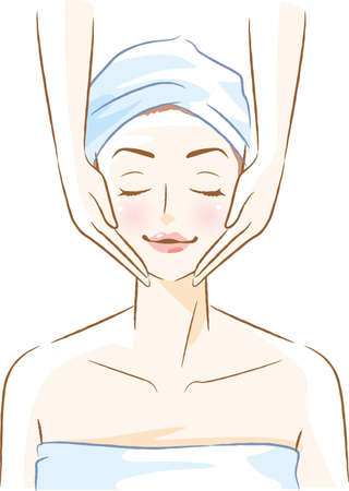 Image illustration of a woman receiving an esthetics (face)  イラスト・ベクター素材