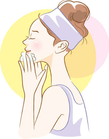 Image illustration of woman's side face dropping lipstick  イラスト・ベクター素材
