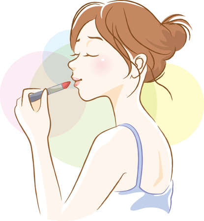 Image illustration of woman with lipstick on landscape