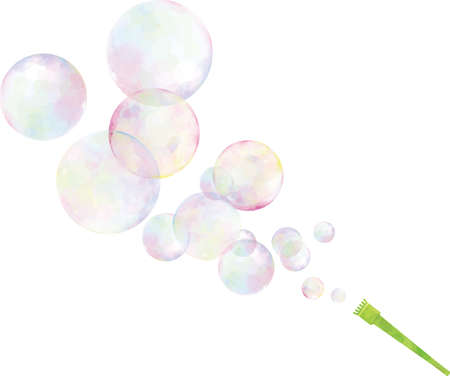 Image illustration of soap bubbles blowing out (watercolor style)  イラスト・ベクター素材