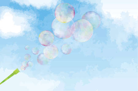 Image illustration of soap bubble blowing out in the blue sky (watercolor style)