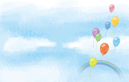 Image illustration of colorful balloons and rainbow floating in the blue sky (watercolor style pastel)  イラスト・ベクター素材