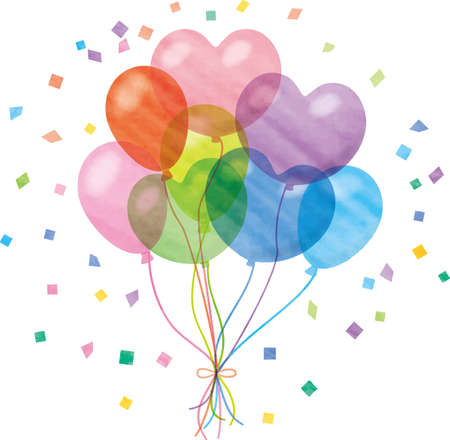 Image illustration of bundled colorful balloons and confetti (watercolor style pastel)  イラスト・ベクター素材