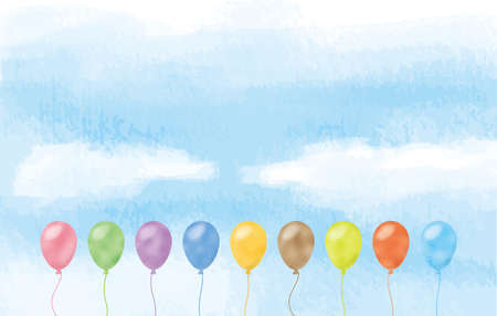 Image illustration of colorful balloon floating in blue sky (watercolor style pastel)