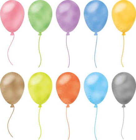 Colorful balloon image illustration (watercolor style pastel)