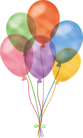 Image illustration of colorful balloons bundled up (watercolor style, pastel)  イラスト・ベクター素材