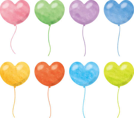 Image illustration of a colorful balloon in the shape of a heart (watercolor style pastel)