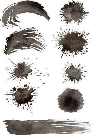 Image vector set of splashing ink