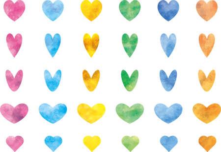Colorful heart image illustration set (vector)