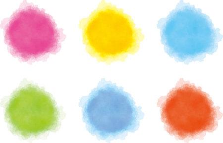 Watercolor Style Maru no Icon (Color Variation)  イラスト・ベクター素材