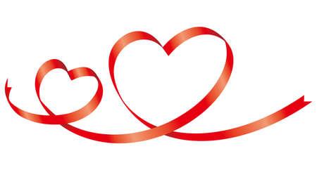 Heart-shaped ribbon image illustration (decoration)