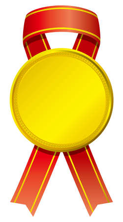 Gold medal image illustration with ribbon  イラスト・ベクター素材