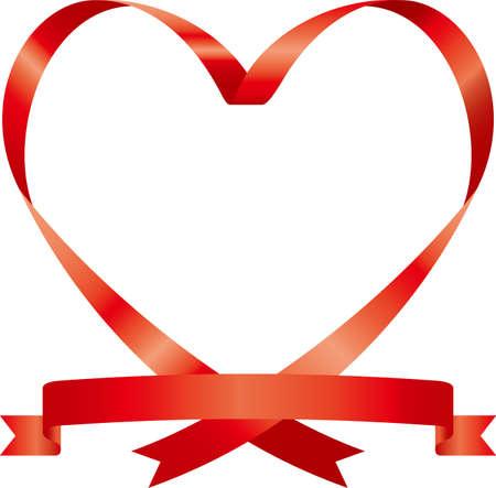 Heart-shaped ribbon image illustration (symmetry)